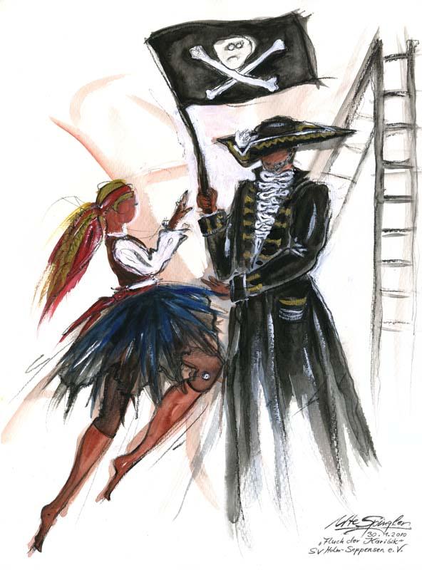 Fluch der Karibik, Tanzdarbietung gemalt von Ute Spingler
