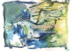 Pegasus fliegend aus gelben Nebel-600pix-watermark