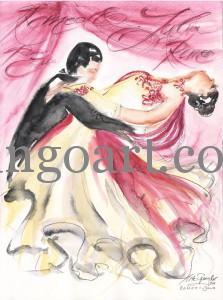 Romeo+Julia mit kaligrafischen Hintergrund in rose'