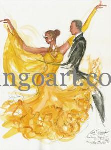 Barbara und Ruediger Herrmann tanzen mit der Startnummer 21 im sommerlichen Sonnenblumengelb!