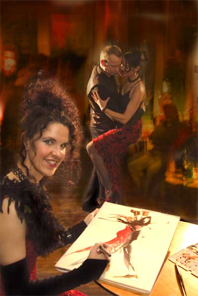 Ute Spingler malt das Tangopaar Anita French und Riego Heins