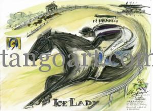 IceLady in Rennpose mit freien Strich