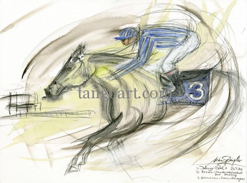 Hurry Girl als Siegerin des 3. Rennens in Bad Harzburg am 23.7.2011 - Preis der Fremdenverkehrsstadt Bad Harzburg