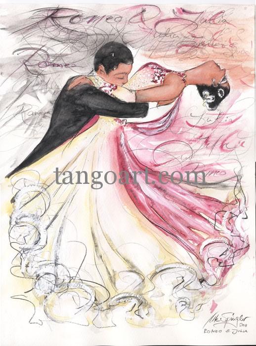 Dramatische Liebesschluss-Szene von Romeo+Julia mit kaligrafischen Hintergrund