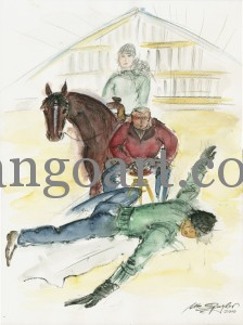 Westernreiterin auf Quarterhorse vor und während der Mobilisationsübungen